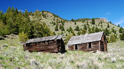 Historical cabins from the 1800s are built on this land on this Montana property for sale