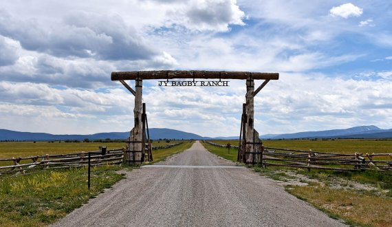 A grand enterance to this Montana ranch for sale