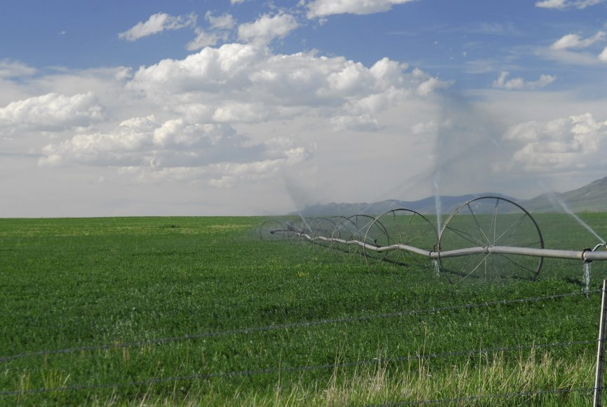 Irrigation pivots on this Idaho ranch for sale
