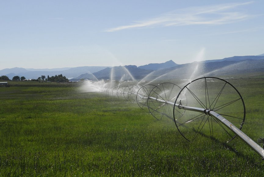 Irrigation pivots on this Utah ranch for sale