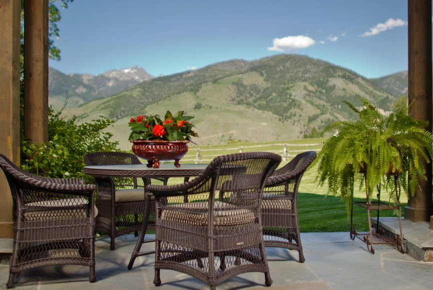 Majestic mountain backdrop on this Montana ranch for sale