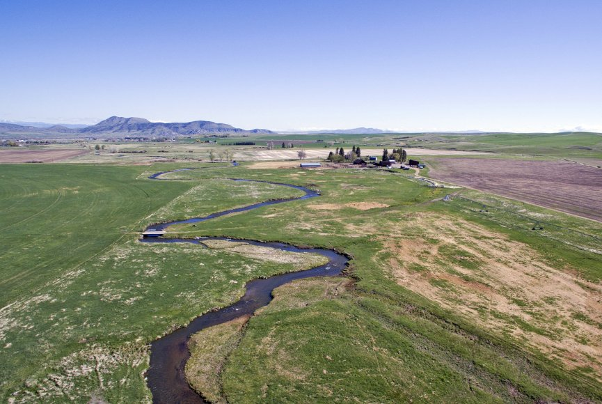 The Willow Creek meanders through this Montana farm for sale