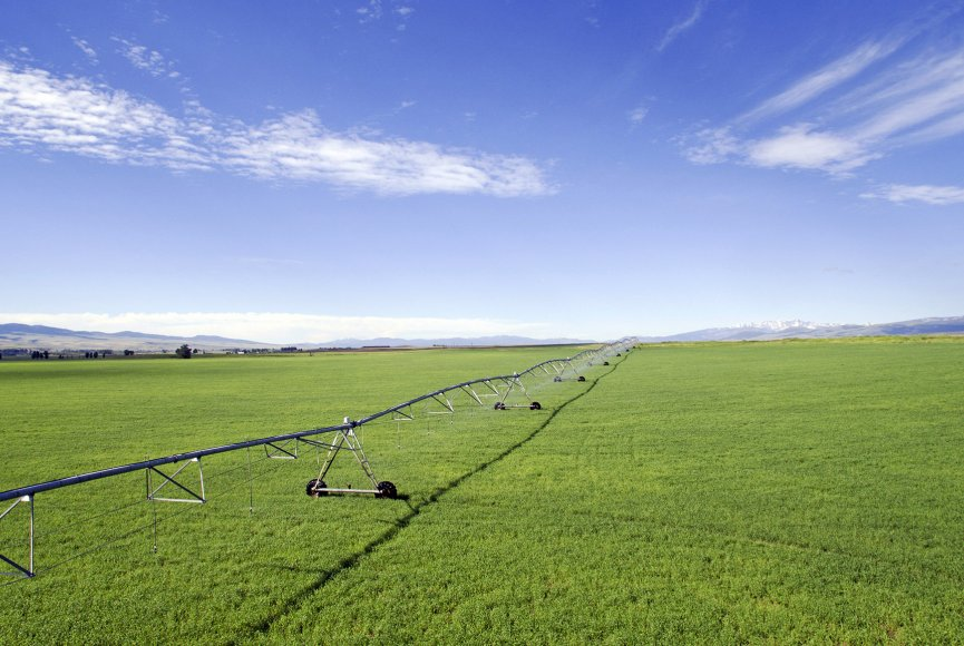 Irrigation on this large Montana ranch for sale