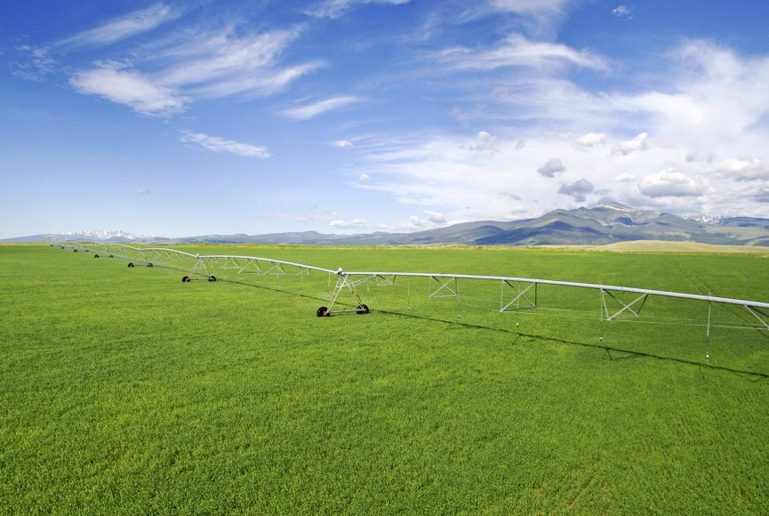 Fields being irrigated on this large Montana property for sale