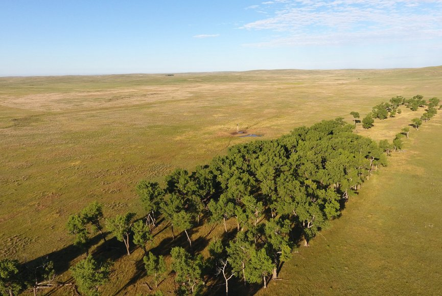 Birds eye view on this ranch for sale listed by Swan Land Company