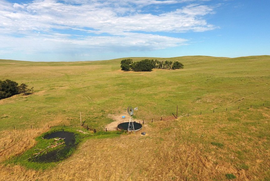 View from above on this Nebraska ranch for sale
