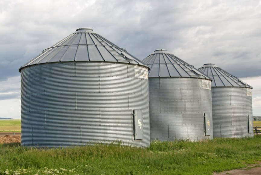 Silos standing tall on this Montana property for sale