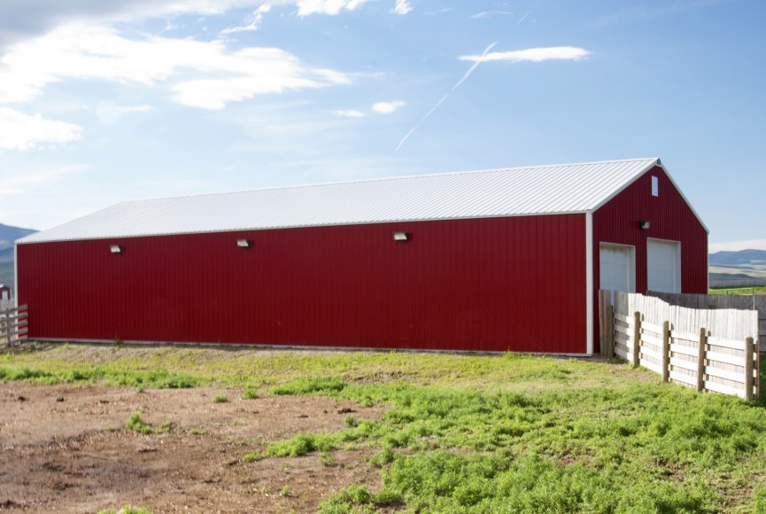 Barn on this large Montana ranch for sale listed by Swan Land Company