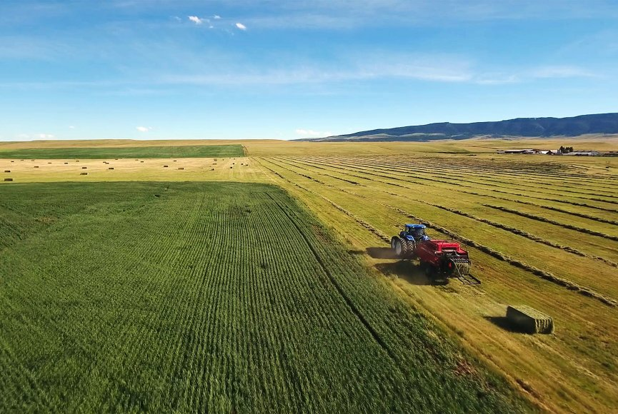 Vast productive fields on this Montana ranch for sale