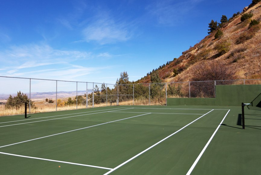 Private tennis court on this large Montana Estate for sale